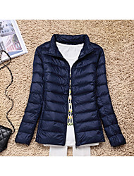 cheap -Women's Regular Padded Coat,Casual Sports & Outdoor Going out Solid-Polyester Long Sleeves