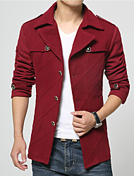 Men's Daily Wear Simple Vintage Casual Winter Fall Jackets,Solid Shirt Collar Long Sleeves Regular Polyester