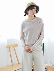 Women's Daily Regular Cardigan,Solid Hooded Long Sleeves Cotton Winter Fall Medium Micro-elastic