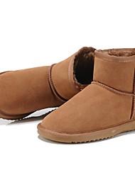abordables -Mujer Zapatos Cuero Invierno Confort / Botas de nieve / Forro de pelusa Botas Tacón Plano Dedo redondo / Punta cerrada Botines / Hasta el