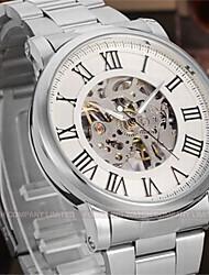 WINNER Men's Dress Watch Wrist watch Mechanical Watch Automatic self-winding Hollow Engraving Stainless Steel Band Luxury Casual Silver