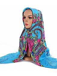 Feminino Raiom Todas as Estações Hijab,Flôr Roxo Vinho Azul Claro Azul Real Lavanda