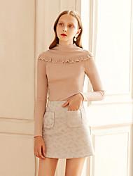 economico -T-shirt Da donna Per uscire Casual Vintage Romantico Attivo Tinta unita A collo alto Cotone Manica lunga Medio spessore