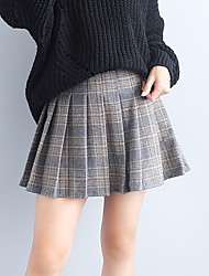 cheap -Women's Daily Above Knee Skirts Pencil Cotton Check Fall