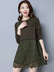 cheap -Women's Daily Wear Casual Loose Dress,Solid Round Neck Mini Long Sleeve Acrylic Spring Low Rise Stretchy Thick