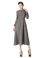 Women's Daily Going out Vintage Casual A Line Swing Dress,Solid Crew Neck Midi Long Sleeve Cotton Polyester Winter Fall High Waist