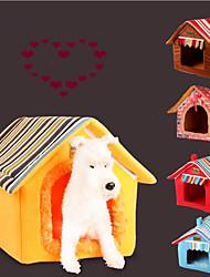 Недорогие -Кошка Собака Кровати Животные Коврики и подушки Однотонный В полоску Теплый Компактность Складной Мягкий Желтый Кофейный Для домашних