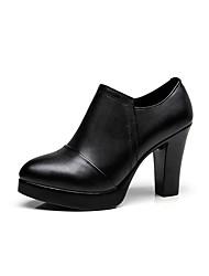Недорогие -Жен. Обувь Искусственное волокно Весна / Осень Ботильоны Ботинки На толстом каблуке Круглый носок Ботинки Черный