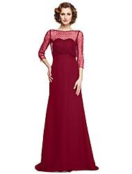 baratos -Linha A Bateau Neck Longo Chiffon Vestido Para Mãe dos Noivos com Miçangas de LAN TING BRIDE® /   Ilusão