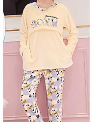 cheap -Women's Suits Pajamas,Plants Cotton Polyester Yellow