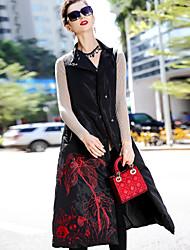 Dámské Dlouhé Dlouhý kabát Jednoduchý Čínské vzory Denní nošení Jdeme ven Jednobarevné-Kabát Polyester Bez rukávů