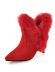 cheap -Women's Shoes Leatherette Fall Winter Comfort Boots Pointed Toe Booties/Ankle Boots For Party & Evening Dress Red Black