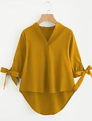 preiswerte -Damen Solide Arbeit Hemd, V-Ausschnitt Schleife