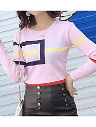preiswerte -Damen Kurz Pullover-Lässig/Alltäglich Einfach Gestreift Rundhalsausschnitt Langärmelige Acryl Herbst Dünn strenchy