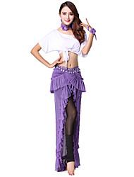 baratos -Devemos roupas de dança do ventre Formação feminina Poliéster Rugged Bandagem dividida manga curta caiu sapatilhas tops