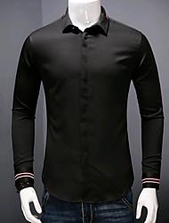 メンズ カジュアル/普段着 シャツ,ストリートファッション シャツカラー ソリッド ポリエステル 長袖