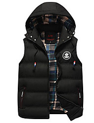 Men's Daily Going out Street chic Winter Fall Vest,Solid Hooded Sleeveless Regular Polyester