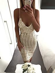 preiswerte -Damen Bodycon Kleid Einfarbig V-Ausschnitt