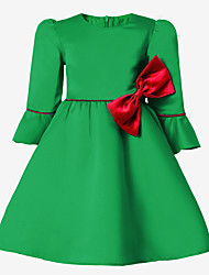 cheap -Girl's Solid Dress,Cotton Polyester Long Sleeves Cute Green Red