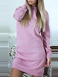 Women's Daily Club Sexy Street chic Sheath Sweater Dress,Color Block Patchwork Round Neck Mini Long Sleeve Polyester Spring Fall Mid Rise
