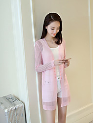 Women's To-Go Daily Wear Long Cardigan,Solid Deep V Long Sleeves Cotton Spring Summer Thin Micro-elastic