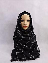 economico -Per donna Quattro stagioni Rayon Hijab,Scozzese/a quadri Bianco Nero Rosso Beige Cachi