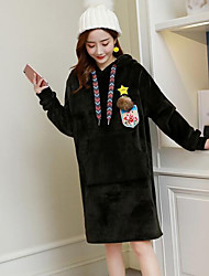 Feminino Solto Vestido,Casual Simples Estampado Com Capuz Altura dos Joelhos Manga Comprida Poliéster Inverno Outono Cintura Média