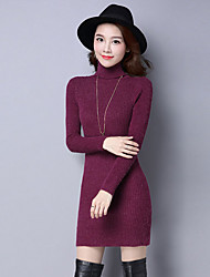 cheap -Women's Daily Casual Sheath Dress,Solid Turtleneck Above Knee Long Sleeve Polyester Winter Fall High Waist Micro-elastic Thick