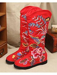 cheap -Women's Shoes Fabric Winter Fall Comfort Fashion Boots Boots For Casual Red Beige Black
