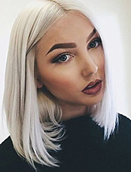 cheap -Ash Gray Short Lace Front Wig Beauty Fashion Natural Straight African American Wig Heat Resistant Fiber Cosplay Party Club Hair