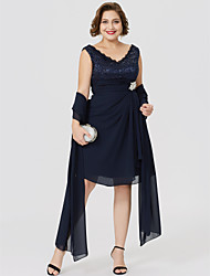 cheap -A-Line V Neck Knee Length Chiffon Lace Mother of the Bride Dress with Ruched Crystal Brooch by LAN TING BRIDE®
