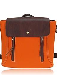 女性 バッグ オールシーズン 牛側 キャンバス ショルダーバッグ ジッパー タッセル のために カジュアル オレンジ