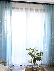 Pencil Pleat Double Pleat Grommet Top Curtain Contemporary Casual , Floral Geometric Bedroom Polyester Material Sheer Curtains Shades