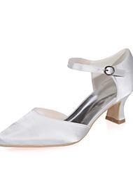 preiswerte -Damen Schuhe Satin Frühling Sommer Pumps Hochzeit Schuhe Block Ferse Quadratischer Zeh für Hochzeit Party & Festivität Purpur Silber Rot
