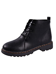 cheap -Women's Shoes PU Winter Comfort Combat Boots Boots Round Toe Mid-Calf Boots Beading For Casual Red Black