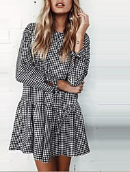 cheap -Women's Daily Going out Vintage Street chic Sheath Dress,Solid Check Round Neck Mini Long Sleeves Polyester Spring/Fall Mid Rise
