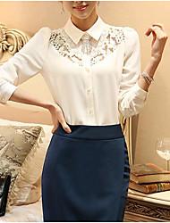 cheap -Women's Daily Cute Shirt,Solid Shirt Collar Long Sleeves Polyester