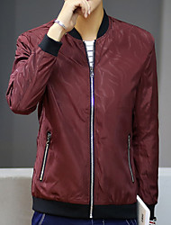 Men's Sports & Outdoor Daily Wear Simple Spring Fall Jackets,Solid Stand Long Sleeves Regular Polyester