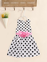 cheap -Girl's Birthday Holiday Solid Round Dots Flower/Floral Dress, Cotton Polyester Sleeveless Cute Casual Princess White Black Navy Blue
