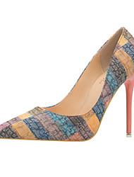 baratos -Mulheres Sapatos Couro Ecológico Primavera / Verão Conforto / Inovador Saltos Dedo Apontado Botas Cano Médio Laranja / Azul / Casamento