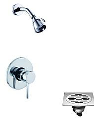 abordables -Contemporain Douche seulement Douche pluie Soupape céramique 1 trou Chrome, Robinet