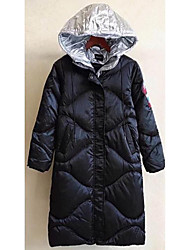 Women's Long Parka Coat,Casual Active Daily To-Go Solid-Polyester Long Sleeves
