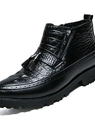 Недорогие -Муж. обувь Дерматин Кожа Весна Осень Удобная обувь Ботинки для Повседневные Черный
