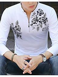 Недорогие -Для мужчин Повседневные Рубашка Рубашечный воротник,Уличный стиль Однотонный Длинный рукав,Хлопок Полиэстер