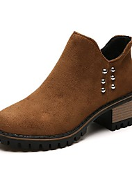 cheap -Women's Shoes Cashmere Winter Fashion Boots Boots Round Toe Mid-Calf Boots Beading For Casual Khaki Brown Black