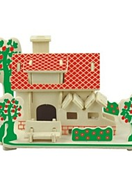 cheap -3D Puzzles Wooden Puzzles Model Building Kits Wood Model Toys House 3D Houses Fashion Kids Hot Sale Classic Fashion New Design Kids 1