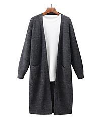 Longue Cardigan Homme Sortie Décontracté / Quotidien Couleur Pleine Col Rond Claudine Manches Longues Coton Automne Hiver Moyen