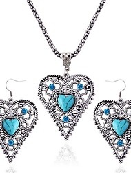 cheap -Women's Turquoise Turquoise Heart Jewelry Set 1 Necklace / Earrings - Vintage / Fashion Silver Drop Earrings / Necklace For Daily