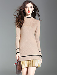 Women's Daily Going out Street chic Sweater Dress,Solid Striped Crew Neck Knee-length Long Sleeve Wool Microfiber Acrylic Winter Fall