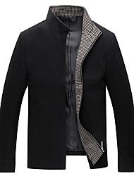 Men's Daily Simple Casual Winter Fall Jackets,Solid Stand Long Sleeves Regular Wool Polyester
